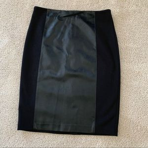 Black knit and leather skirt